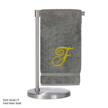 Monogrammed Bath Towel, Personalized Gift, 27 x 54 Inches - Set of 2 - Gold Script Embroidered Towel - 100% Turkish Cotton - Soft Terry Finish - For Bathroom, or Spa - Script F Gray Towels