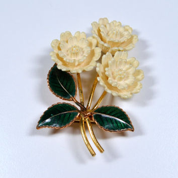 Vintage Flower Pin White Cream Plastic Carved Flower Enamel Leaves Vintage Brooch Vintage Pin Vintage Jewelry