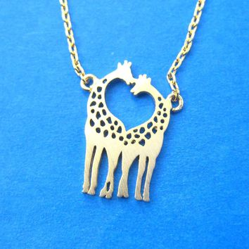 Kissing Giraffe Animal Shaped Silhouette Pendant Necklace in Gold | DOTOLY