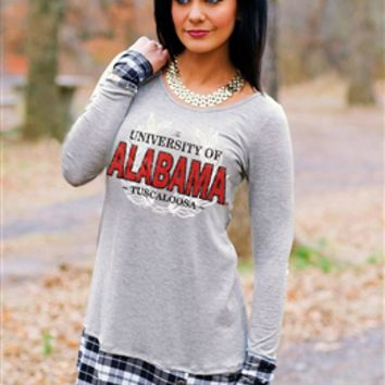Alabama Plaid Panel Button Tunic Top | Alabama Lady's Top | Alabama Ladies Apparel