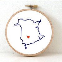 NEW BRUNSWICK Map Cross Stitch Pattern. New Brunswick ornament pattern with Fredericton. Canada wedding gift