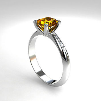 1.29ct Yellow sapphire ring, diamond ring, Platinum solitaire, sapphire engagement, emerald cut, yellow sapphire solitaire, wedding, crown