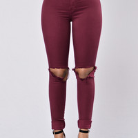 Clean Break Jeans - Burgundy
