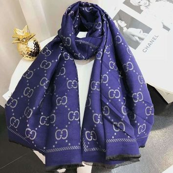 GUCCI 2018 winter new letter double-sided jacquard long shawl scarf