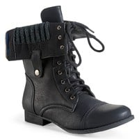 Sweater-Lined Foldover Combat Boot