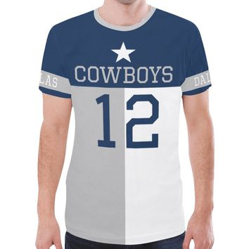 Dallas Football #12 State of Texas Flag Men's Mesh Jersey T-Shirt