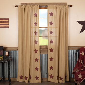 Burlap with Burgundy Stars Panel Curtains