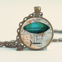 Pendant with Chain - Blue Zeppelin Dirigible