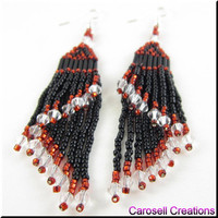 Double Take Layered Beadwork Fringe Dangle Seed Bead Earrings - Red, Black and Clear