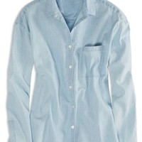 AEO Factory Women's Chambray Shirt (Chambray Blue)