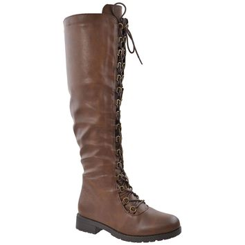 Womens Knee High Boots Faux Leather Lace Up Combat Shoes Brown