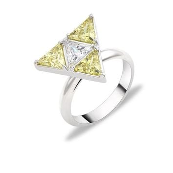 Cubic Zirconia Triangle Green Crystal Ring