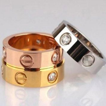 PEAPDQ7 Cute Couple Rings Women Ring 'Cartier' Rhinestone Ring