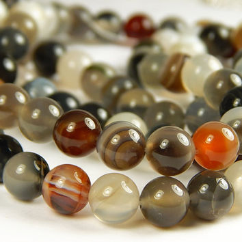 15 Inch Strand - 8mm Round Striped Gray Agate Beads - Gemstone Beads - Jewelry Supplies