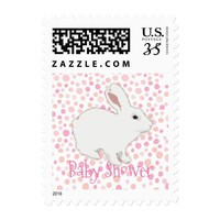 Colorful Polka Dots Bunny Baby Shower Postage