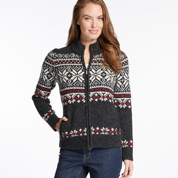 Bean's Classic Ragg Wool Sweater, Zip Cardigan, Fair Isle