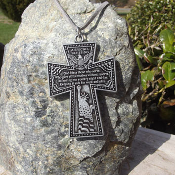 A Special Blessing Men's Veteran Patriotic Cross Pendant On Grey Cord Necklace