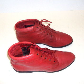 Vintage 80's DanexX Red Leather Ankle Boots Booties Size 10
