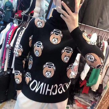 """Moschino"" Women Casual Letter Cute Cartoon Bear Pattern Long Sleeve Sweater Pullover Turtleneck Tops"