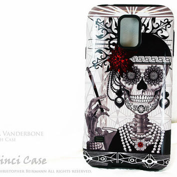 Flapper Girl Sugar Skull Galaxy S5 Case - TOUGH dual layer S 5 Case with 1920's Skull Day of The Dead Art
