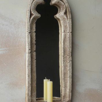 MIRRORED SCONCE for a vintage gothic look.20 ins high,historically elegant.