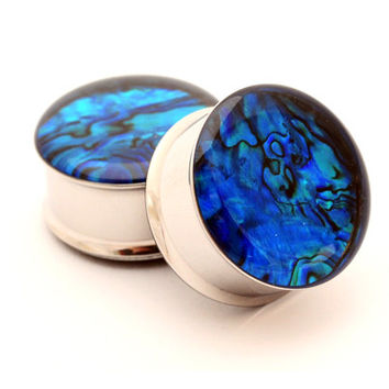 BLUE Abalone Shell Embedded Plugs gauges - 00g, 1/2, 9/16, 5/8, 3/4, 7/8, 1 inch