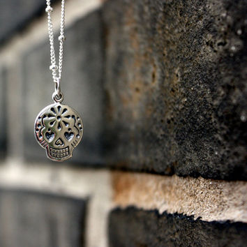 Sugar Skull Necklace - Sterling Silver . Mexican Sugar Skull . Dia de los Muertos . Day of the Day . Skull Charm Necklace