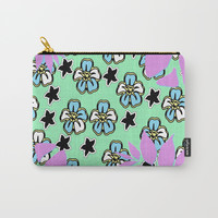 Vibrant Flowers in Purple, Green and Beyond Carry-All Pouch by Barbara Gelman