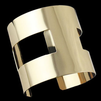 Gold Cuff Cutout Bracelet, Gift for Her, Evening, Casual
