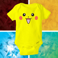 pikachu smile face baby shirt Onesuit - pikachu smile face Onesuit cute - baby Onesuit - Kitty Onesuit - Baby Clothing -