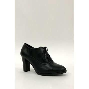 Black High Heel Lace Up Office Smart Ankle Boots