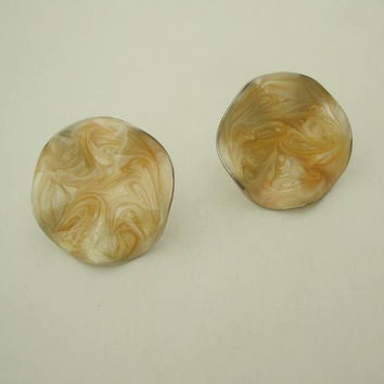 Avon Golden Brown Swirl Enamel Earrings Clip Ons Vintage Jewelry