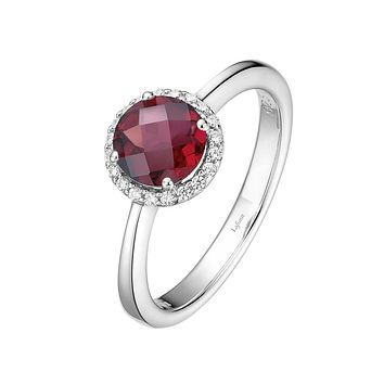Lafonn Birthstone Sterling Silver Platinum Plated Lassire JANUARY Ring (Appx: 1.05 cttw Garnet Appx 0.85 cttw)