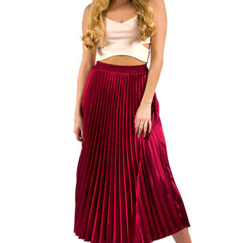 Burgundy Pleated Maxi Skirt
