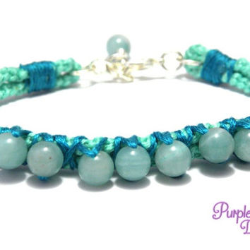 Macrame Bracelet with Gemstone Beads, Knotted Bracelet with Amazonite Beads - Mint/Teal