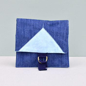 Origami Denim Pouch Travel/Makeup/Sewing Bag by Desire Lines
