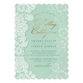 Floral Lace Mint Green Wedding Invitation