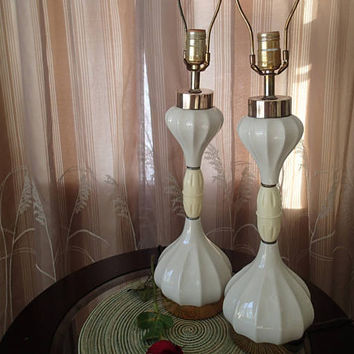Hollywood Regency Table Lamps pair White ceramic/porcelain shapely curved body vintage plastic celluloid or bakelite center 1940s 1950s