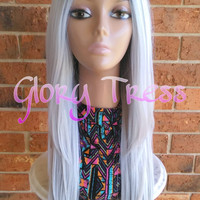 ON SALE // Long & Straight Lace Front Wig, Ombre Platinum Silver Wig, Dark rooted Wig, Heat Safe // HONEST (Free Shipping)