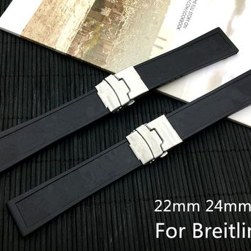 Top Brand Quality Black Silicone Rubber Watch band 22mm24mm WatchBand Bracelet For navitimer/avenger/Breitling strap With Logo
