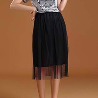 Gray and Black Skull Designed Midi Dress with Bow Tie
