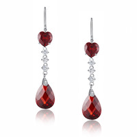 Jewel Heart Drop Cubic Zirconia Earrings (Red)