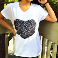 Black Lace Heart T Shirt, white V neck t shirt