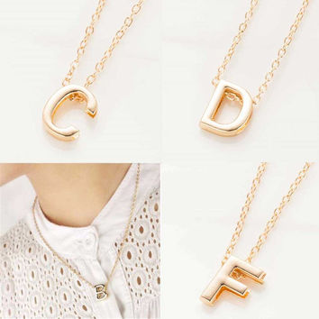 Letter Name Initial Link Chain Charm Pendant Necklace Gold
