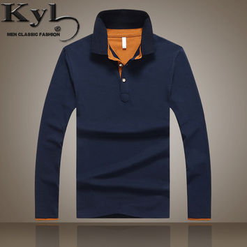 Men's British Slim Long Sleeved Polo Shirt Turn-down Collar
