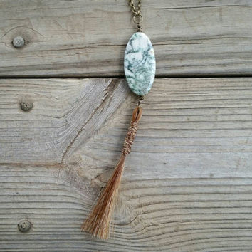 horse hair & tree agate pendant with braid // R168