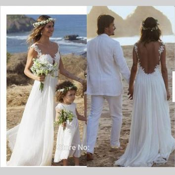 2016 Boho Beach Wedding Dress Sexy Spaghetti Illusion Back 2016 Romantic Bride Bridal Gown
