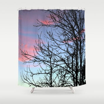Skyscapes Pink Skies Silhouette Shower Curtain by Webgrrl