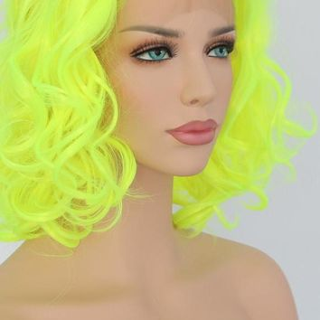 Chica- Yellow 150% High Density Heat Resistant Hair Synthetic Front Lace Wig