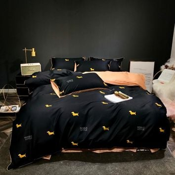 100% cotton sateen bed linen double queen king size bedding set 4pcs 60S luxury black duvet cover with Dachshund print sheets